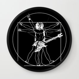 Vitruvian guitarist playing B.C. Warlock guitar. (White sketch) Wall Clock