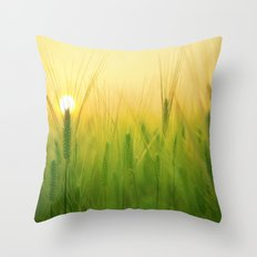 Barley Field Sunrise Throw Pillow