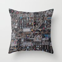the neighbourhood Throw Pillows featuring Parisian Neighbourhood by Guillaume Cornet