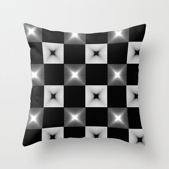 Black And White Patterned Throw Pillows : Black And White Illusion Pattern Throw Pillow by PrintPix Society6
