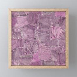 Pastel Pink Jeans Pattern Patchwork Design Framed Mini Art Print
