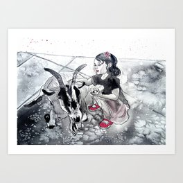 Little witch and her goat Art Print