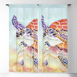 Swimming Together - Sea Turtle Blackout Curtain