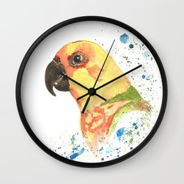 Yellow Parrot Wall Clock
