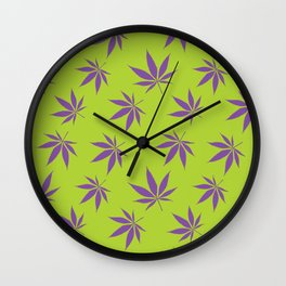 Marijuana leaves - green/purple Wall Clock