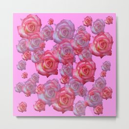 COLLAGE  ARRANGEMENT OF PINK ROSES GARDEN ART Metal Print