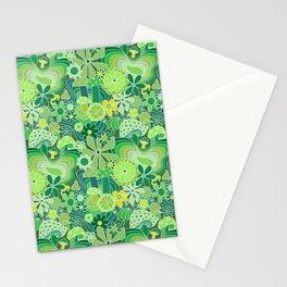 Groovy Mushroom Garden in Avocado Green Stationery Cards
