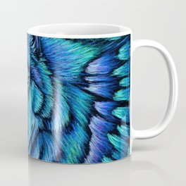 Blue Wolf Aurora Colorful Fantasy Coffee Mug