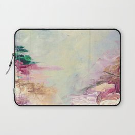 WINTER DREAMLAND 1 Colorful Pastel Aqua Marsala Burgundy Cream Nature Sea Abstract Acrylic Painting  Laptop Sleeve
