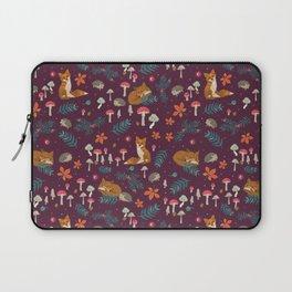 Fox and Hedgehog in Toadstool Wood In Red Laptop Sleeve