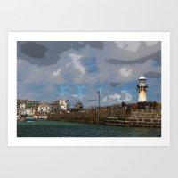 Lighthouse at St Ives, Cornwall, England Art Print