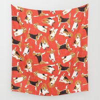 beagle Wall Tapestries featuring beagle scatter coral red by Sharon Turner