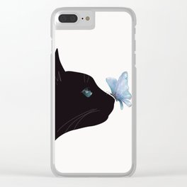 Cat and Butterfly Clear iPhone Case