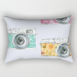 Five Vintage Cameras in Watercolor Rectangular Pillow