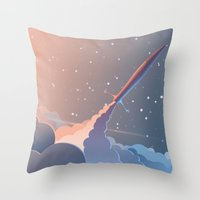 rocket Throw Pillows featuring Rocket by TheNewVision
