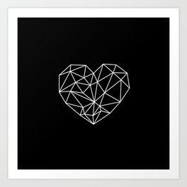 Black and White Geometric Heart Art Print