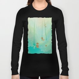 Hide and Seed (Cartoon Squirrels, Mint Green Snow Forest) Long Sleeve T-shirt