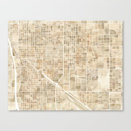Tucson Arizona watercolor city map Canvas Print