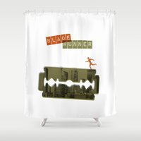runner Shower Curtains featuring Blade Runner by Marta Colomer