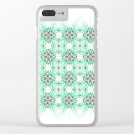 Kat Scratch Starburst Pattern • Mint & Taupe Clear iPhone Case