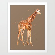 Giraffe in Mocha Art Print