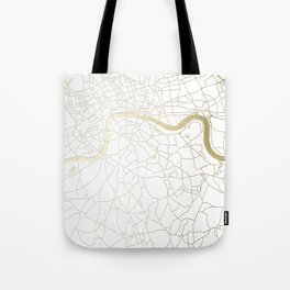 White on Yellow Gold London Street Map Tote Bag