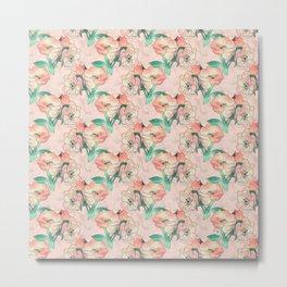 Pretty Watercolor Pink Peach Floral Girly Design Metal Print