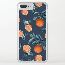 Lemon and Leaf Pattern VI Clear iPhone Case