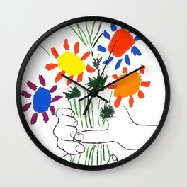Pablo Picasso Bouquet Of Peace 1958 (Flowers Bouquet With Hands), T Shirt, Artwork Wall Clock