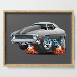 Classic American Muscle Car Hot Rod Cartoon Serving Tray
