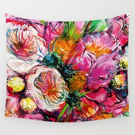 pink bouquet with two white buttercups Wall Tapestry