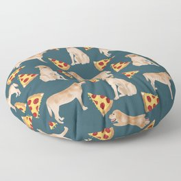 Yellow Labrador pizza cheesy slice of pizza food trendy pet gifts for yellow lab owners dog breed Floor Pillow