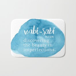 Wabi Sabi Word Nerd Definition - Blue Watercolor Bath Mat