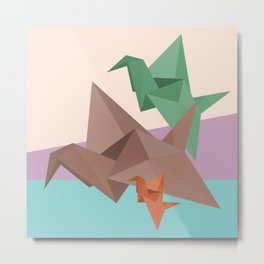 PAPER CRANES (Origami abstract birds animals nature) Metal Print