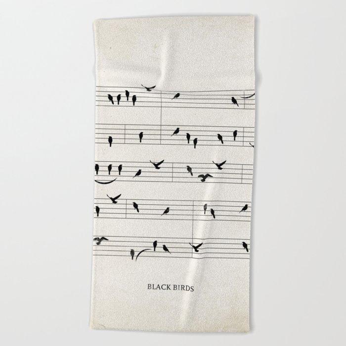 Black Birds Beach Towel