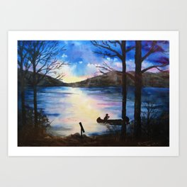 Last Canoe of the Day Art Print