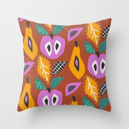 Modern fruit basket Throw Pillow