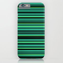 Shades of Forest Green | Colorful Horizontal Stripes | iPhone Case