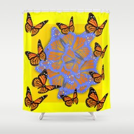 MONARCH BUTTERFLIES ABSTRACT ON YELLOW-GOLD Shower Curtain