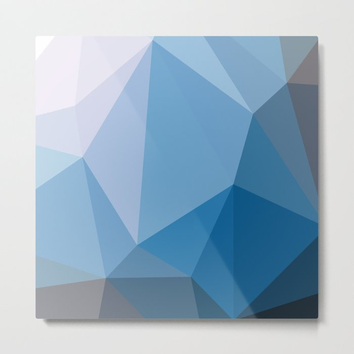 Shades Of Blue Triangle Abstract Metal Print
