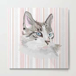 Lynx Point Siamese on Striped Background Metal Print