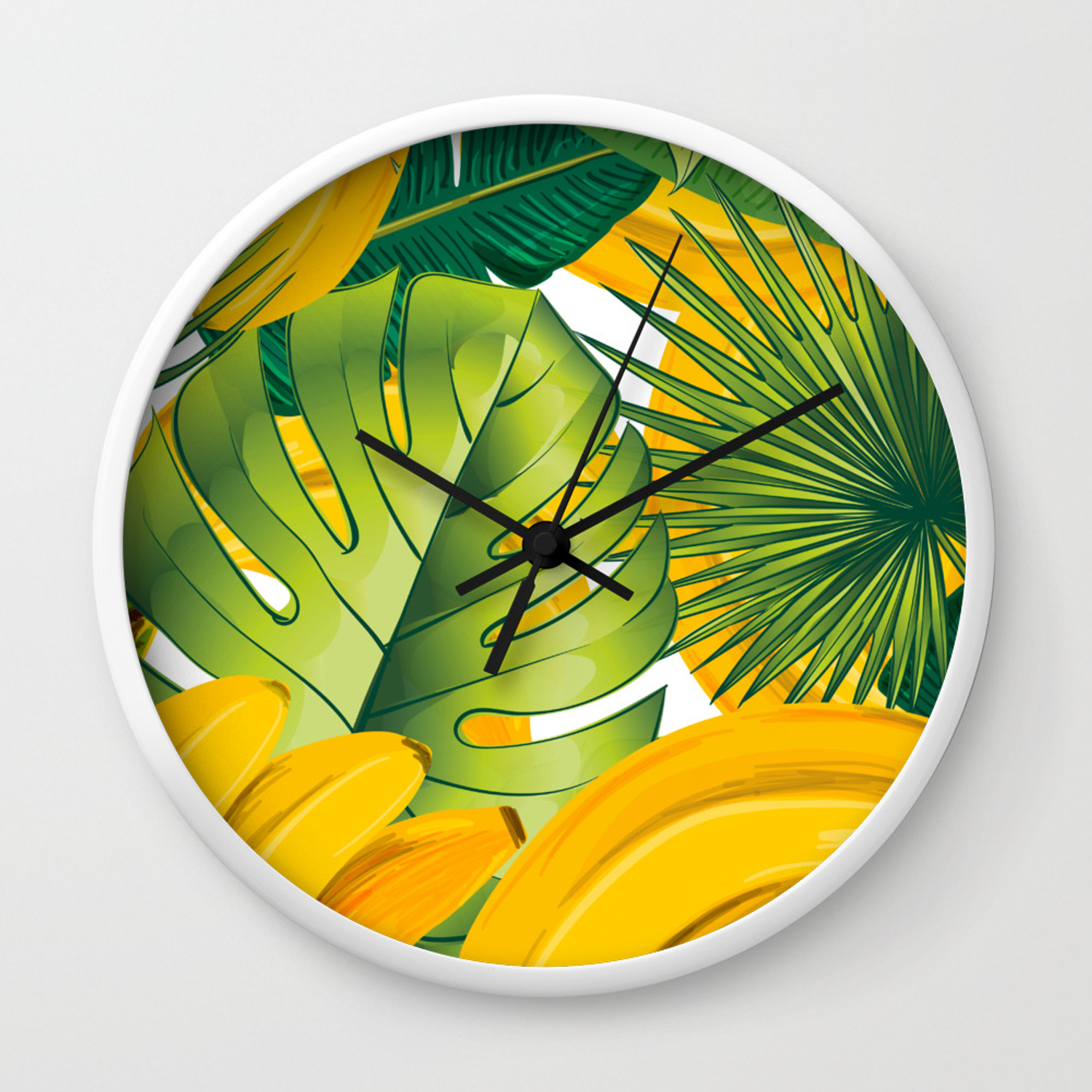 Tropical Leaves Decor Bananas Print Forest Interior Palm Wall Clock By Lubo Society6 Flat lay composition for entrepreneurs, bloggers, magazines, websites, social media and instagram. society6