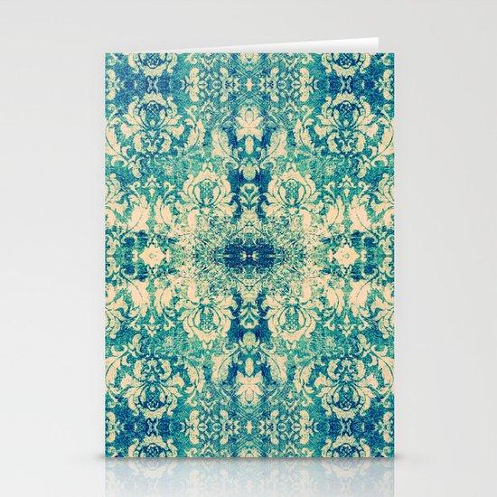 Vintage Blue Turquoise Floral Damask Pattern Stationery Cards
