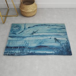 Sharks in deep blue Rug