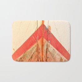 Orange Boat Hull Wooden Boats Fishing Fisherman Seafood Painted Wood Vintage Weathered Nautical Beac Bath Mat