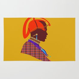 kenyan massai warrior zolliophone Graphic Design artwork Rug