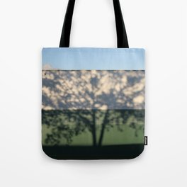 Shadow Tree on an industrial building Tote Bag