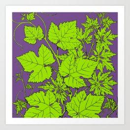 Green and purple leaf ornament Art Print