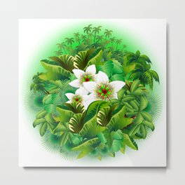 Passion Flowers on Tropical Jungle Metal Print