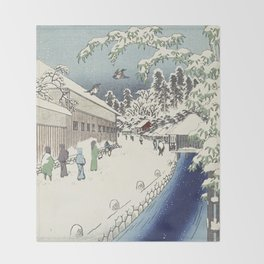 A walk with Hiroshige Throw Blanket